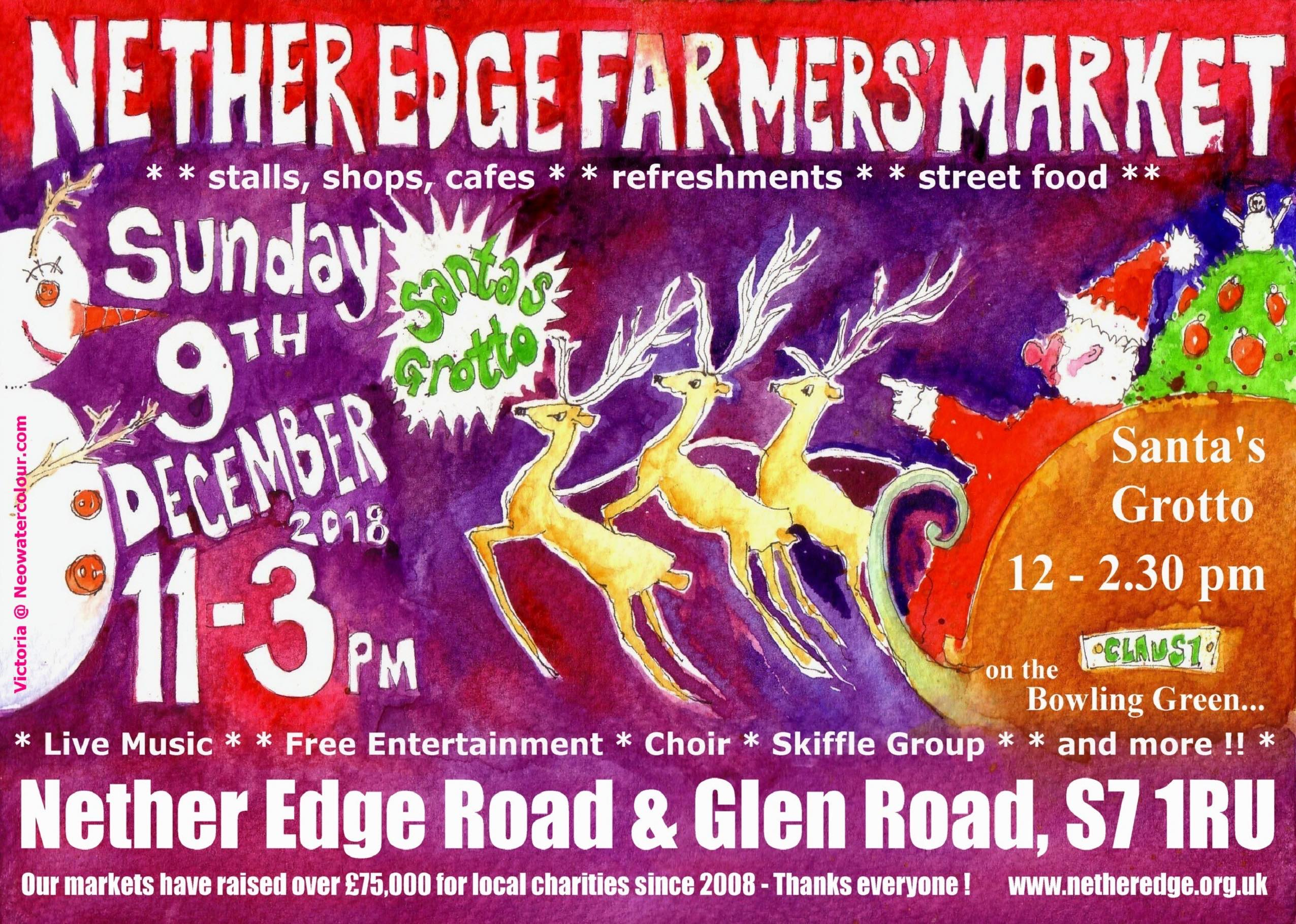 Flyer for Christmas Farmers' Market, December 9th Nether Edge